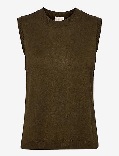 Augusta vest - knitted vests - dark olive melange