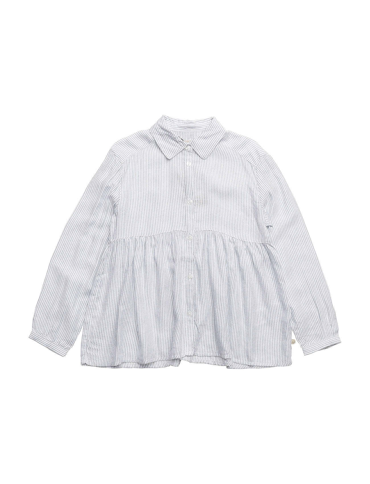Minymo Shirt LS w. Y/D stripes - BLUE MIRAGE