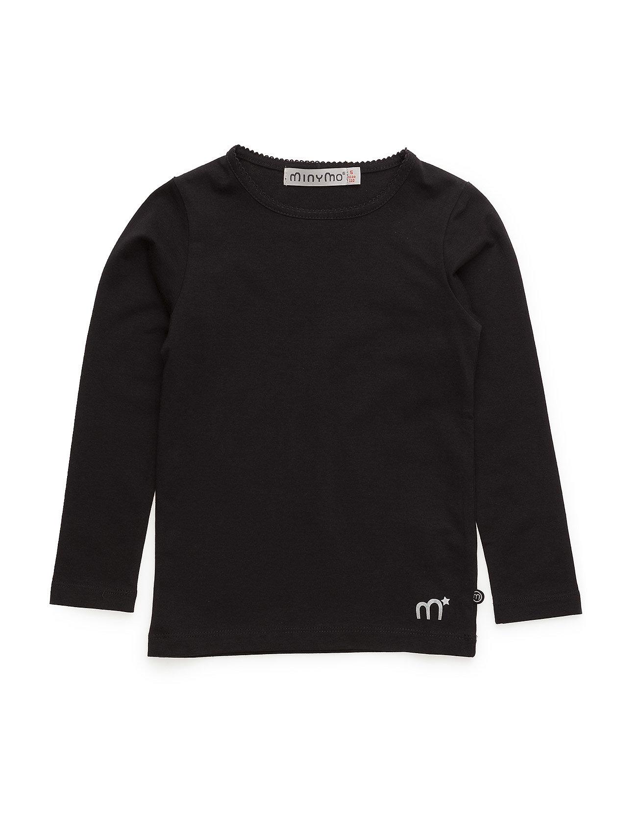 Minymo Basic T-shirt LS -solid - BLACK