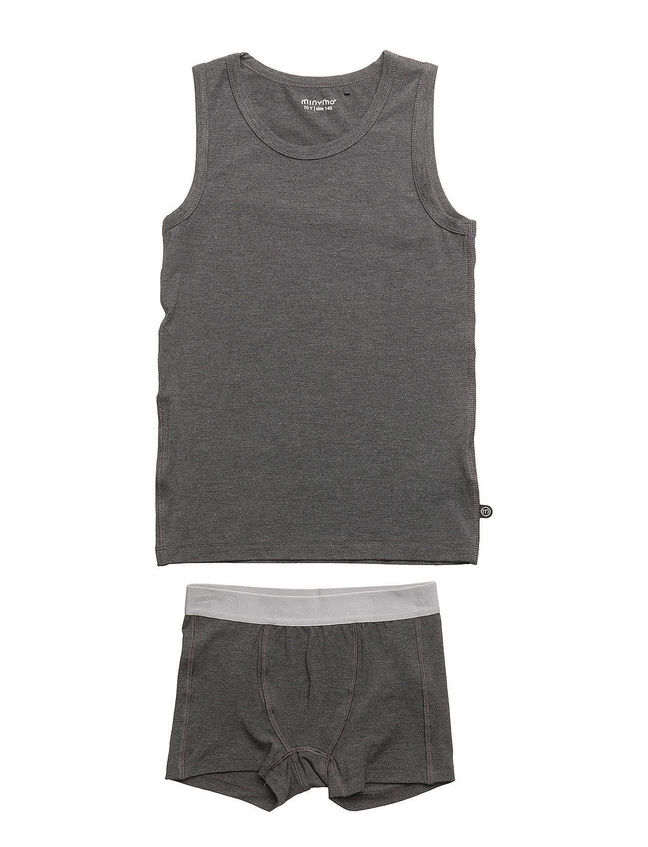 Minymo Underwear set - Bamboo - DARK GREY MELANGE