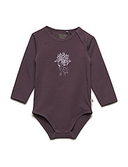 Body LS w. front print - BLACK PLUM
