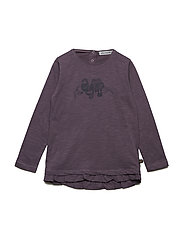 Tunic LS with print - BLACK PLUM