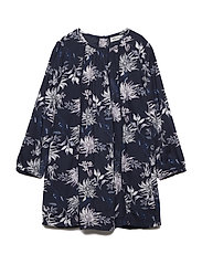 Dress LS w. Flower AOP - BLUE NIGHTS
