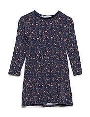 Dress LS w. AOP - INDIGO BLUE