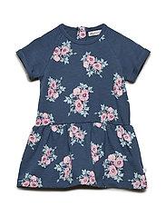 Sweat dress SS w. print - MIDNIGHT BLUE