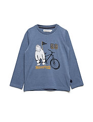 T-shirt LS w. print monster - CORONET BLUE