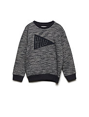 Sweat shirt melange w. print - ENSIGN BLUE