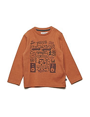 T-Shirt  LS w. print - APRICOT ORANGE