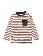 T-Shirt  LS w. Y/D stripe - WHITE