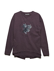 T-shirt LS w. print - BLACK PLUM