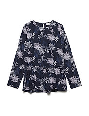 Tunic LS w. Flower AOP - BLUE NIGHTS
