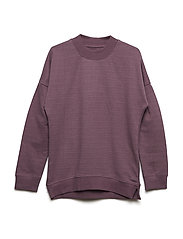Shirt LS sweat w. lurex - BLACK PLUM