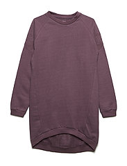 Dress LS sweat w. lurex - BLACK PLUM
