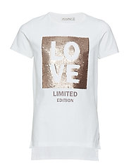 T-shirt SS w. sequins - BRIGHT WHITE