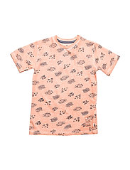 T-shirt SS w. AOP - BURNT CORAL