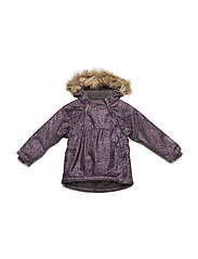Snowjacket herringbone w. AOP - Baby 2 zippers - BLACK PLUM