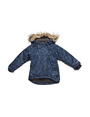 Snowjacket herringbone w. AOP - Baby 2 zippers - BLUE WING TEAL