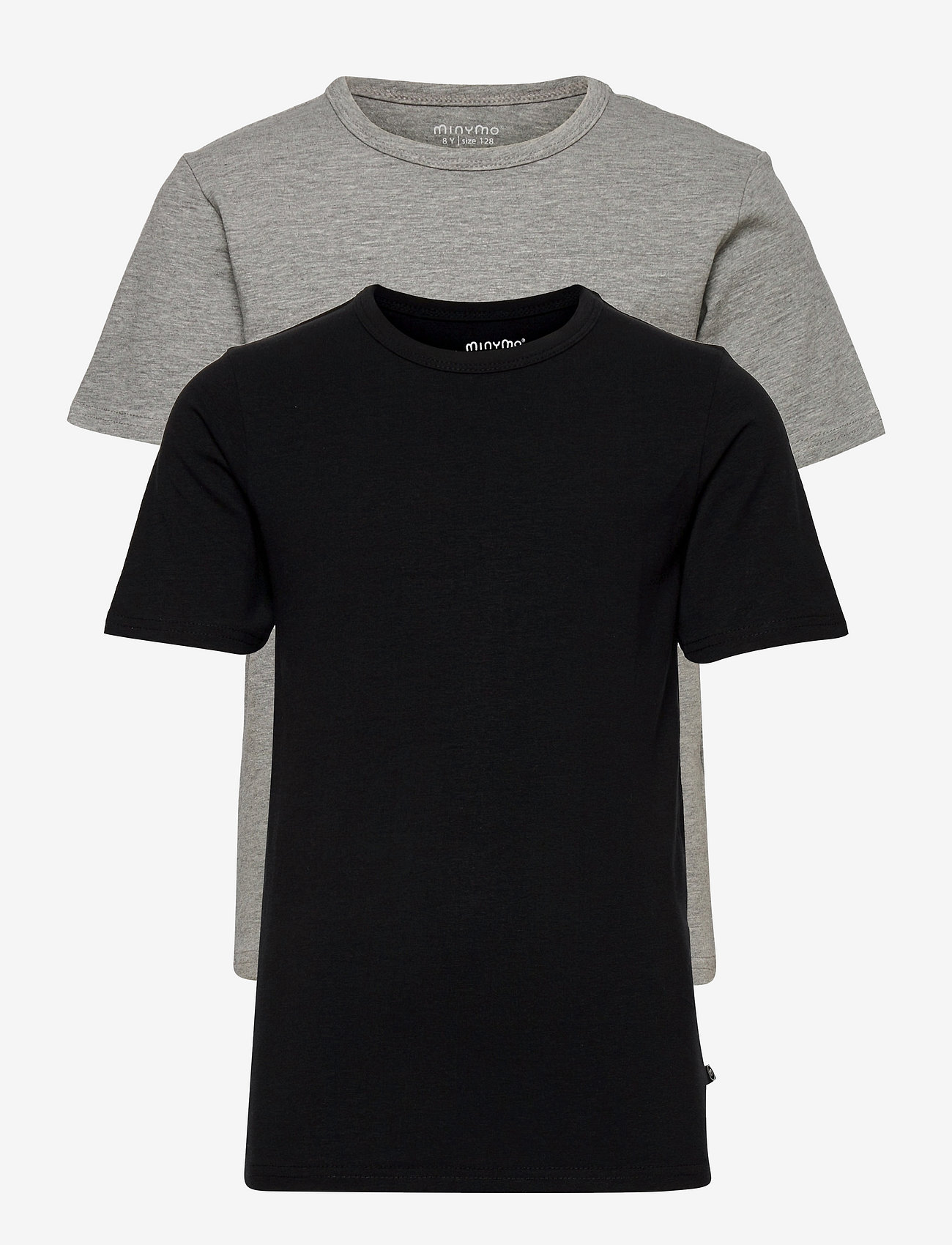 Minymo - Basic 32 -T-shirt SS (2-pack) - krótki rękaw - anthacite black - 0