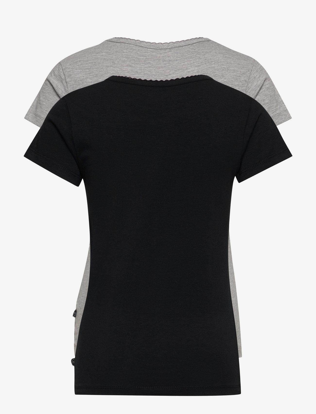 Minymo - Basic 33 -T-shirt SS (2-pack) - krótki rękaw - anthacite black - 1