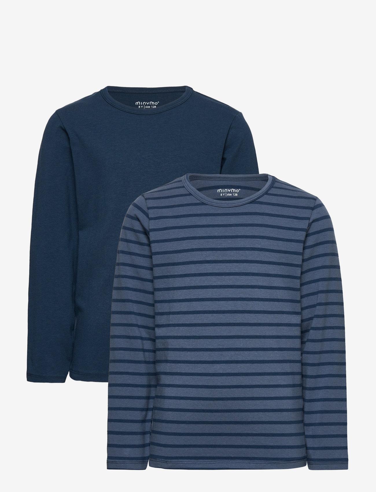 Minymo - Basic 34 -T-shirt LS (2-pack) - dlugi-rekaw - new navy - 0