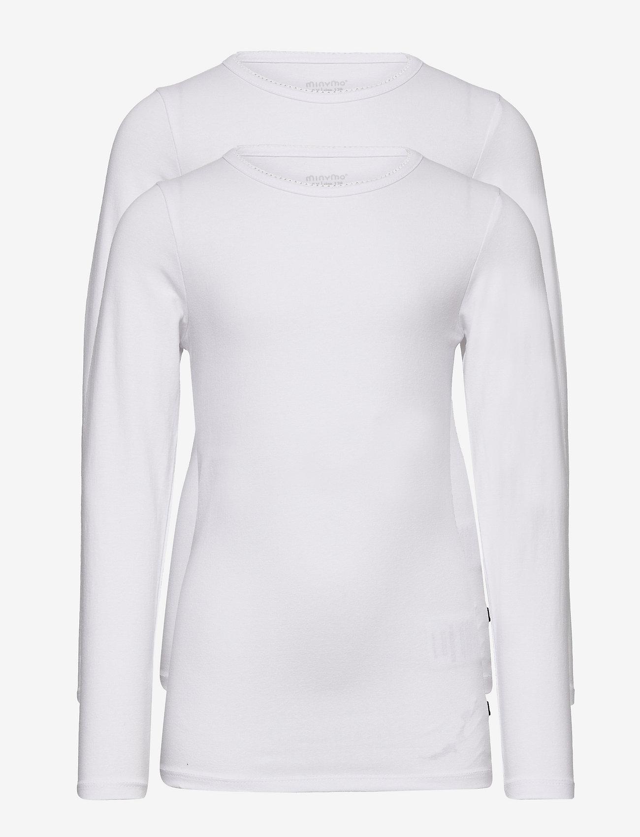 Minymo - Basic 35 -T-shirt LS (2-pack) - t-krekli ar garām piedurknēm - white - 0