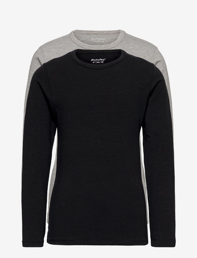 Basic 34 -T-shirt LS (2-pack) - long-sleeved t-shirts - anthacite black