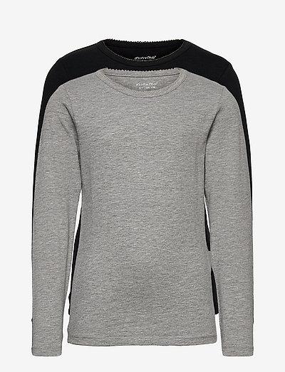 Basic T-shirt LS (2-pack) - long-sleeved t-shirts - anthacite black