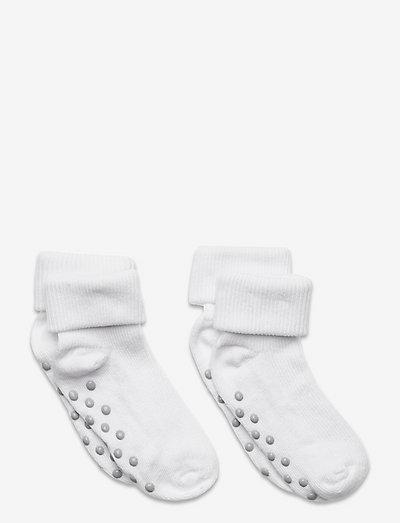 Baby rib sock w. ABS (2-pack) - non-slip socks - white