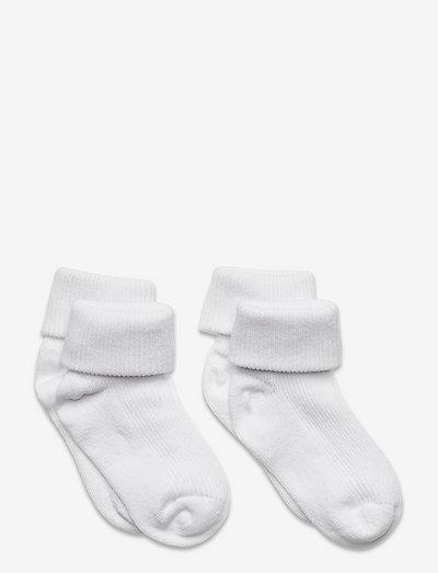 Baby rib sock w. fold (2-pack) - socks - white