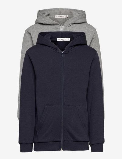 Sweat Jacket w. hood (2-pack) - hoodies - greymelange
