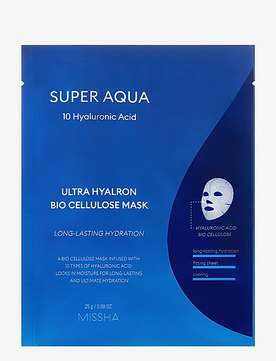 MISSHA Super Aqua Ultra Hyalron Bio Cellulose Mask - sheet mask - clear