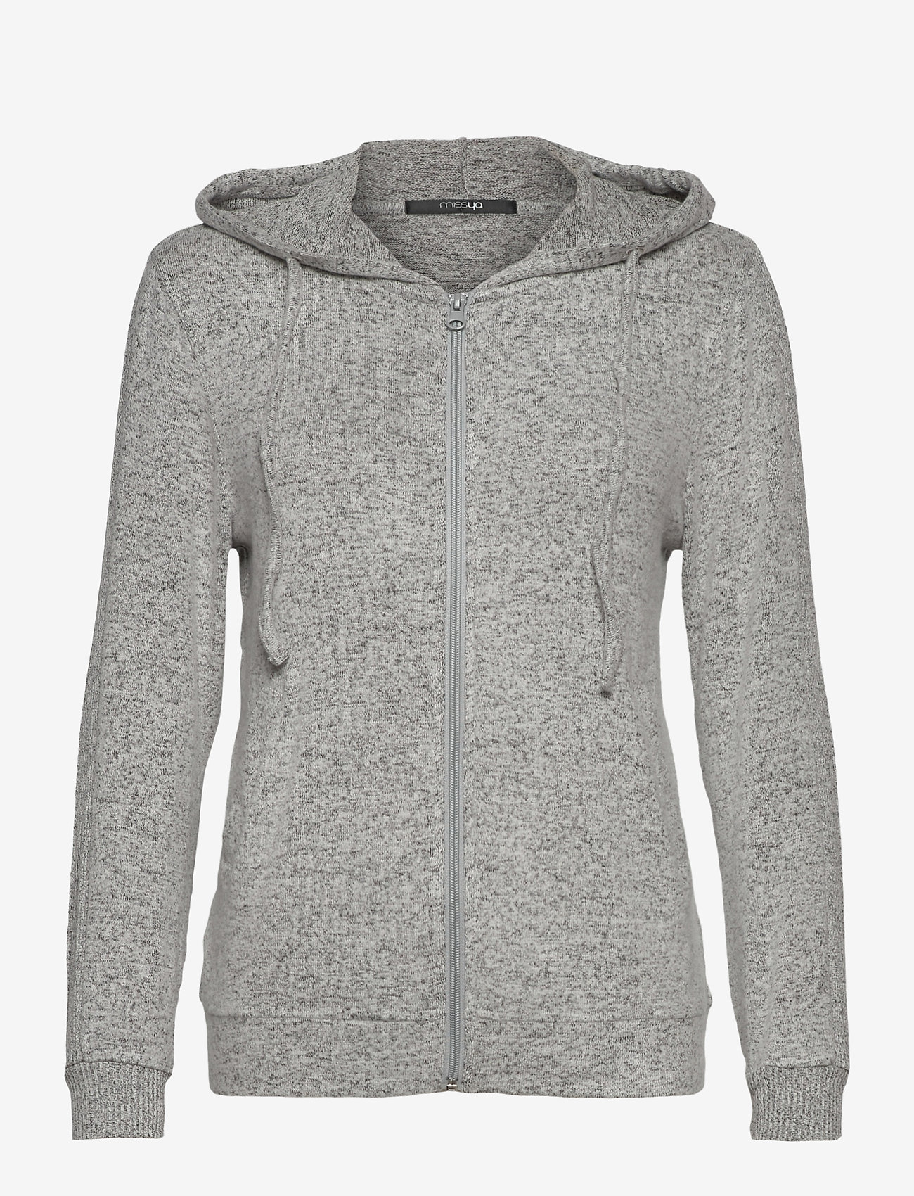 Missya - Cozy hoodie - hauts - light grey melange w tape - 0