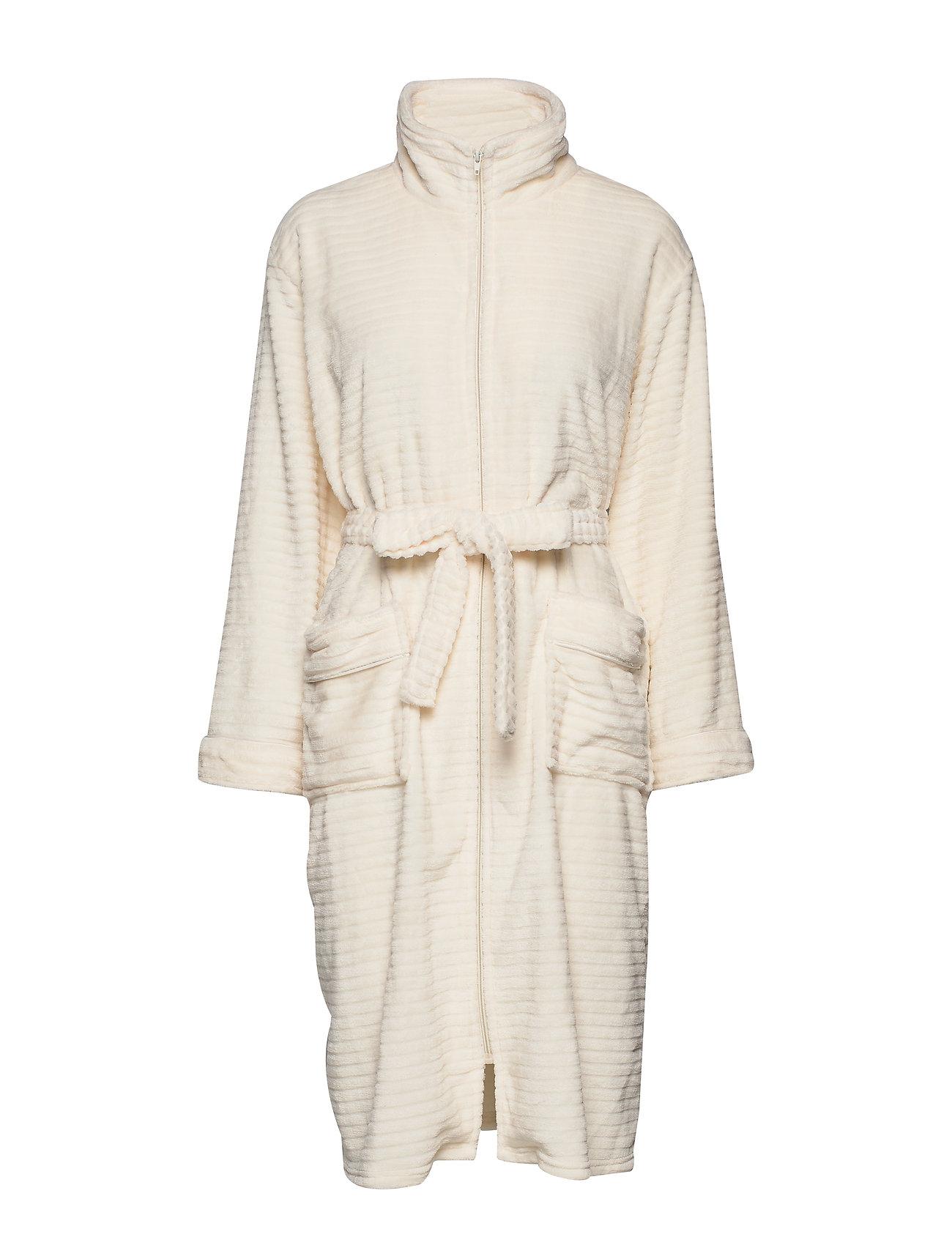 Missya Fine fleece robe w. zipper - IVORY