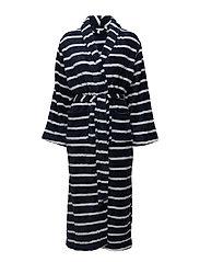 Tenna fleece robe long - MIDNIGHT STRIPE