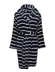 Tenna fleece robe short - MIDNIGHT STRIPE