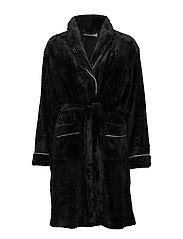 Tula short fleece robe - BLACK
