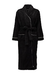 Nira fleece robe long - BLACK