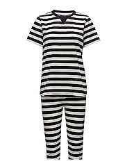 Verene pyjamas w. pants - BLACK/IVORY STRIBES
