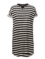 Verene big shirt - BLACK/IVORY STRIBES