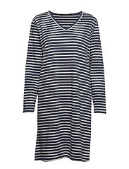 Lounge dress long sleeve - BLUE/IVORY STRIPES