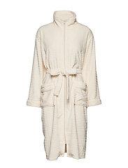 Fine fleece robe w. zipper - IVORY
