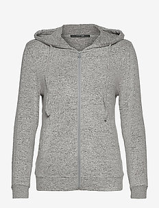 Cozy hoodie - overdeler - light grey melange w tape