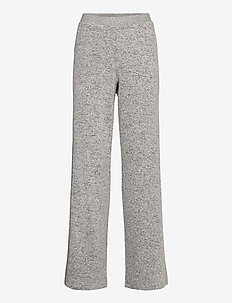 Cozy wide pant - broeken - light grey melange w tape