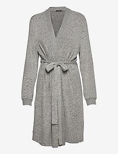 Cozy robe - bathrobes - light grey melange w tape