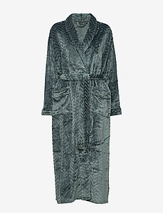 Filipa fleece robe long - DARK SLATE