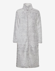 Fe fleece robe w zipper - bedrok - light grey