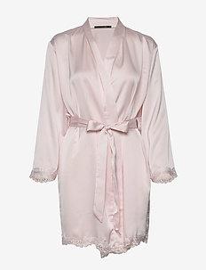 Sateen kimono w lace - DUSTY ROSE
