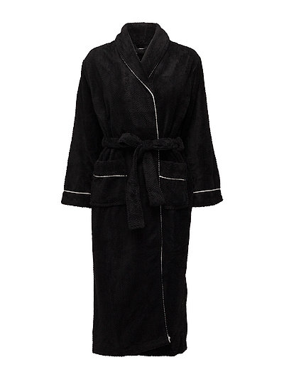 Nira fleece robe long - BLACK