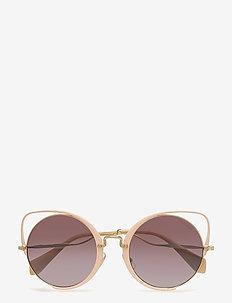 WOMEN'S SUNGLASSES - cat-eye - pale gold/glieter peach