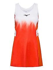 Printed Dress(W) - MANDARIN RED/WHITE